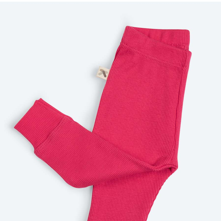 Hot Pink KIDLY's Own Ribbed Leggings
