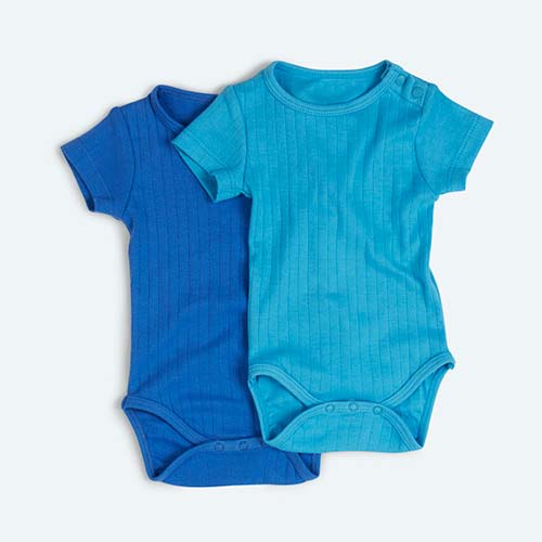 Blue KIDLY's Own Varied Rib Bodysuit 2 Pack