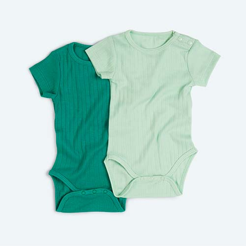 Green KIDLY's Own Varied Rib Bodysuit 2 Pack