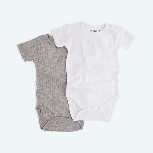 Grey Mix KIDLY's Own Rib Bodysuit - 2 Pack