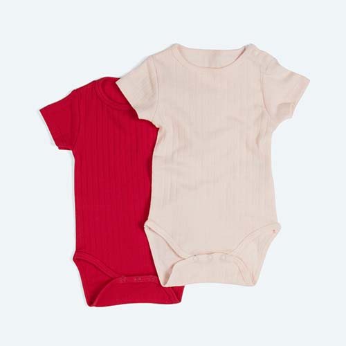 Pink KIDLY's Own Varied Rib Bodysuit 2 Pack