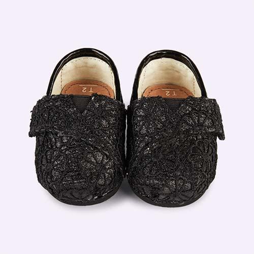 Black Toms Tiny Toms Crochet Glitter Espadrilles