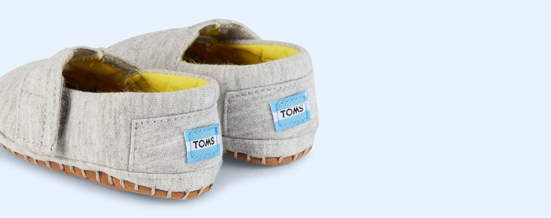 Grey TOMS Jersey Crib Alpargata Shoe