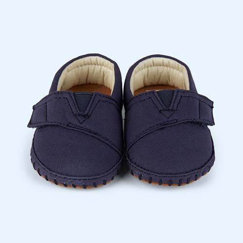 Navy Toms Tiny toms Canvas Crib Alpargata Shoe
