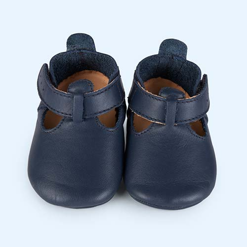 Navy Bobux Soft Sole Classic T-Bar Shoe