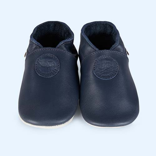 Navy Bobux Classic Dot Soft Sole Shoe