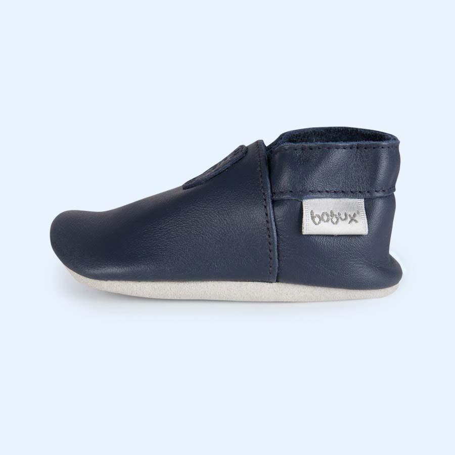 Navy Bobux Classic Dot Soft Sole Shoe