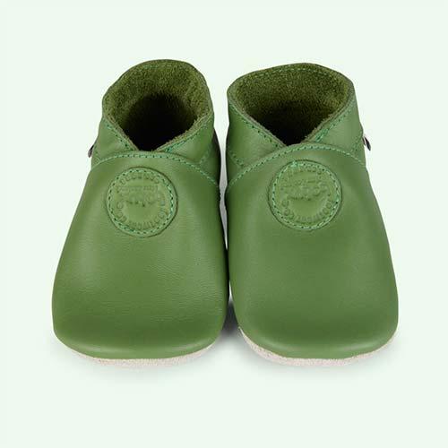 Green Bobux Classic Dot Soft Sole Shoe