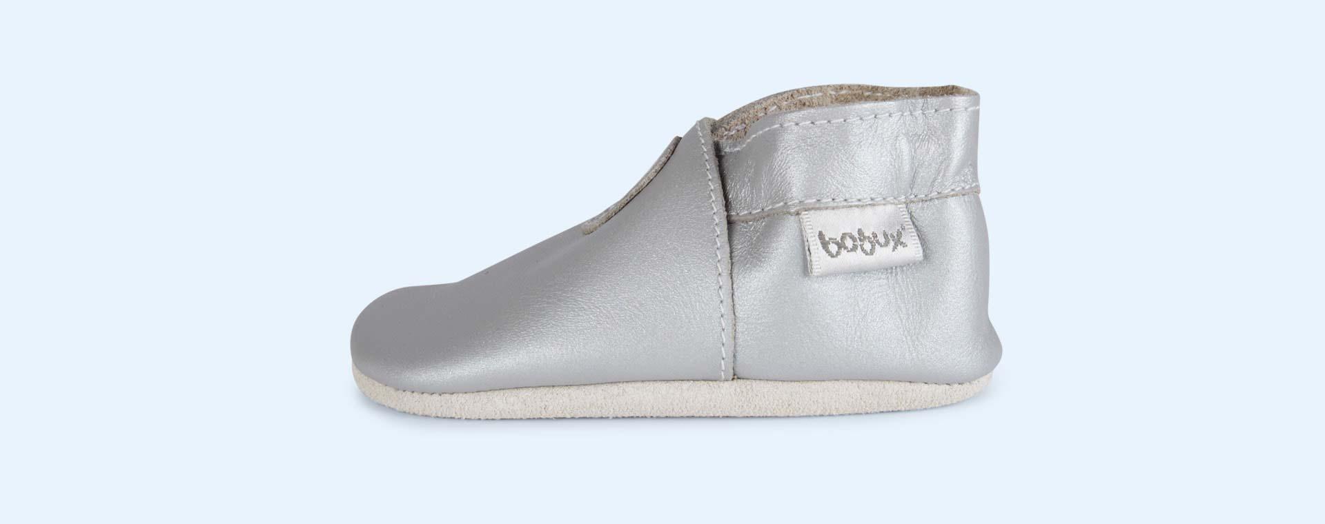 Silver Bobux Classic Dot Soft Sole Shoe