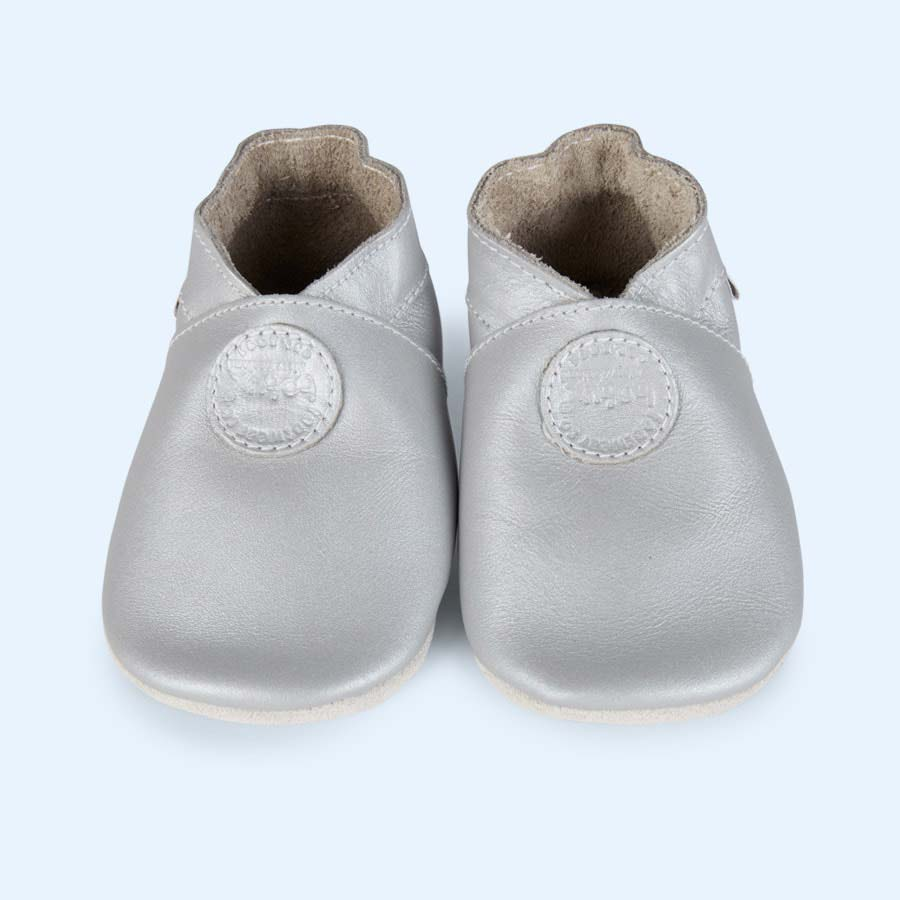 Silver Bobux Classic Dot Soft Sole Shoe