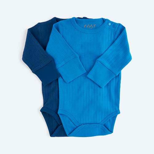 Blue KIDLY's Own Long Sleeve Bodysuit - 2 Pack