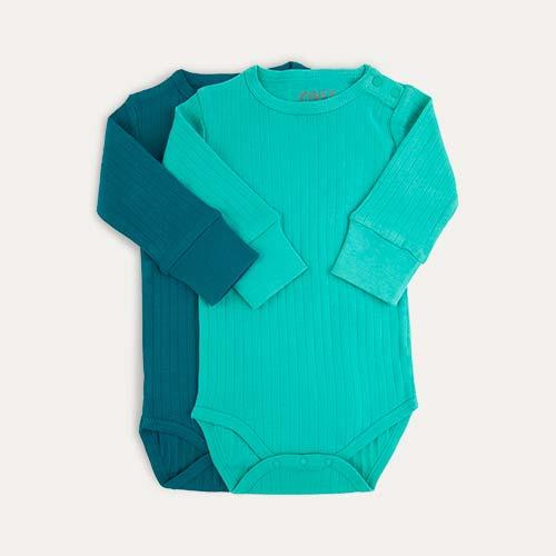Green KIDLY Label Long Sleeve Bodysuit - 2 Pack