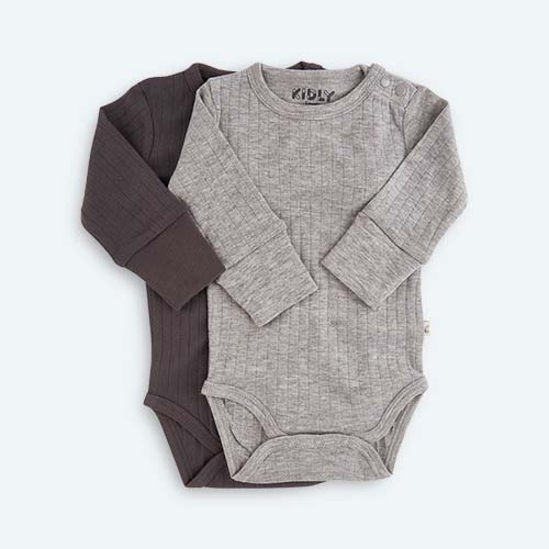 Grey KIDLY's Own Long Sleeve Bodysuit - 2 Pack