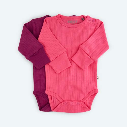 Pink KIDLY's Own Long Sleeve Bodysuit - 2 Pack