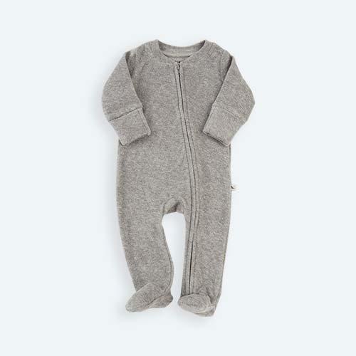Grey KIDLY's Own Zip Front Sleepsuit