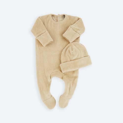 Sand KIDLY's Own Velour Newborn Set