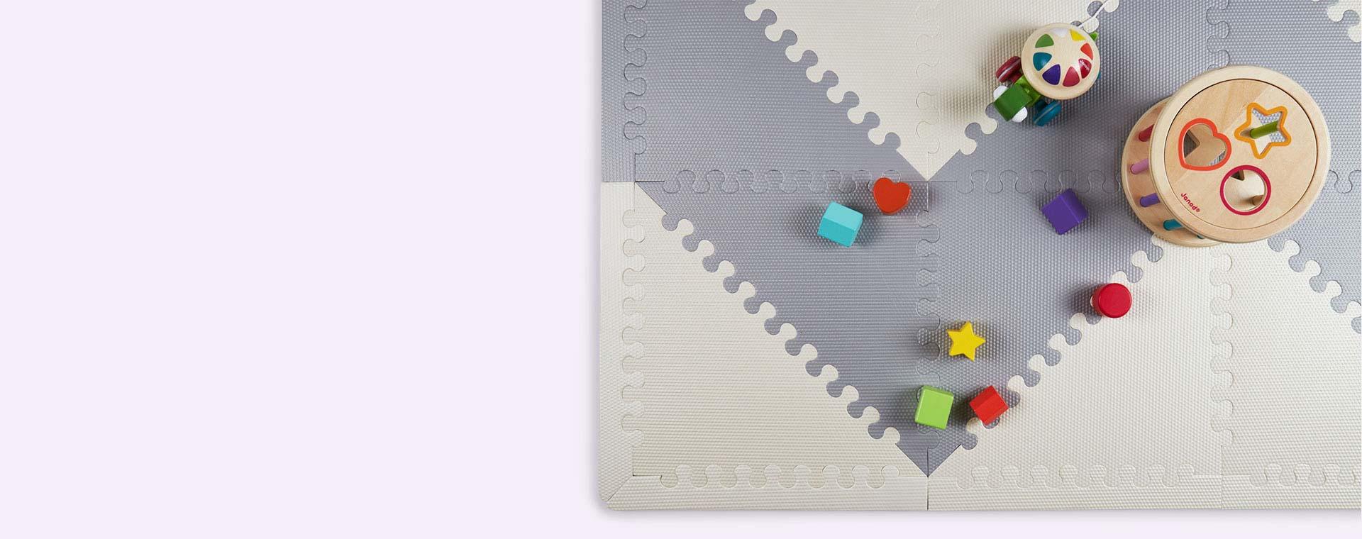 Geo Grey Cream Skip Hop Playspots Foam Floor Tiles - 20 Pack