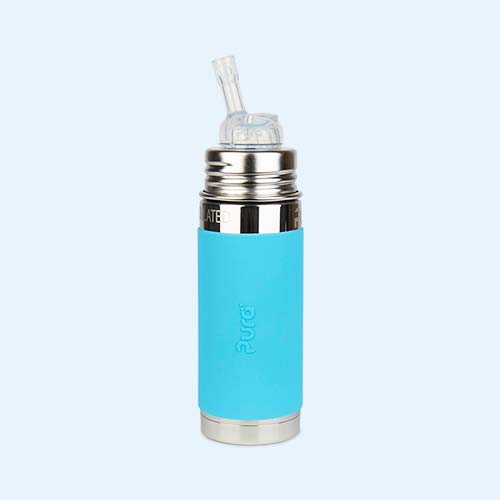 Blue Pura 9oz Insulated Straw Bottle