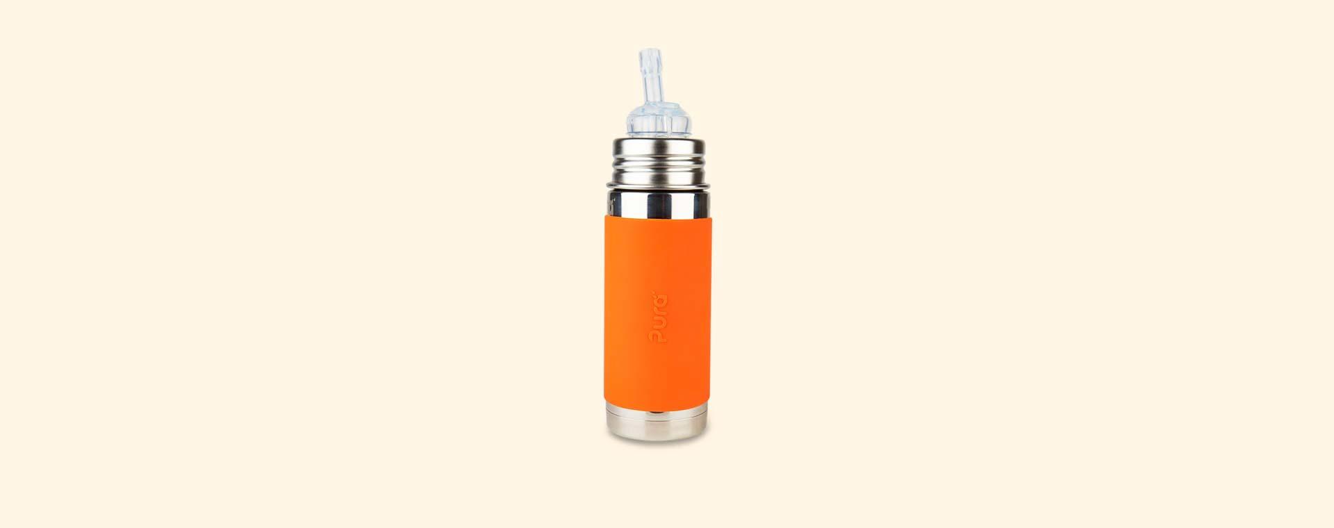 Orange Pura 9oz Straw Bottle