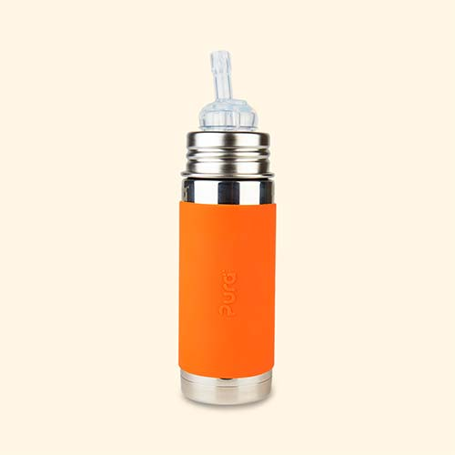 Orange Pura 9oz Insulated Straw Bottle