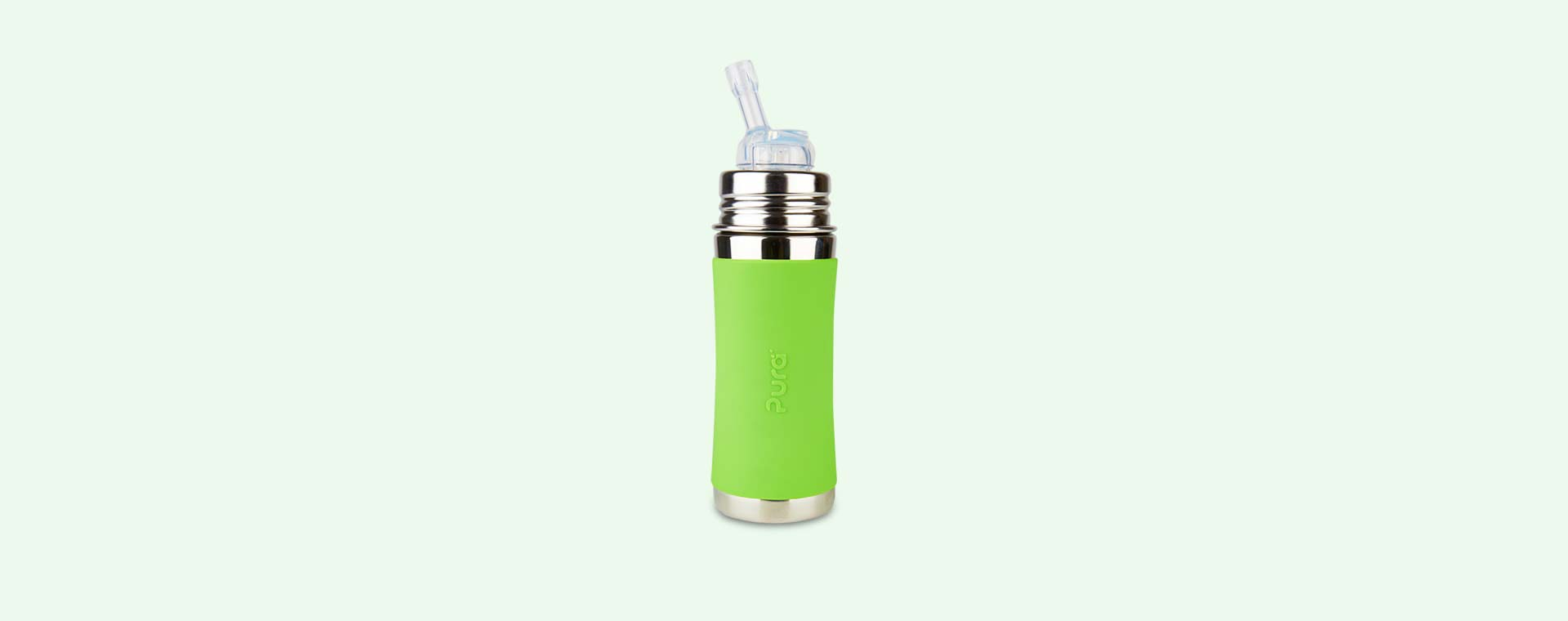 Green Pura 11oz Straw Bottle