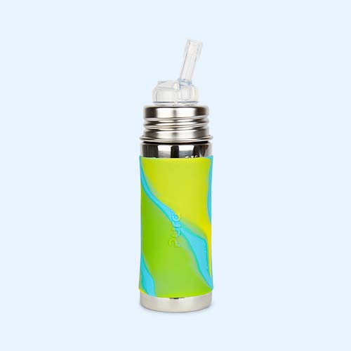 Aqua Swirl Pura 11oz Straw Bottle