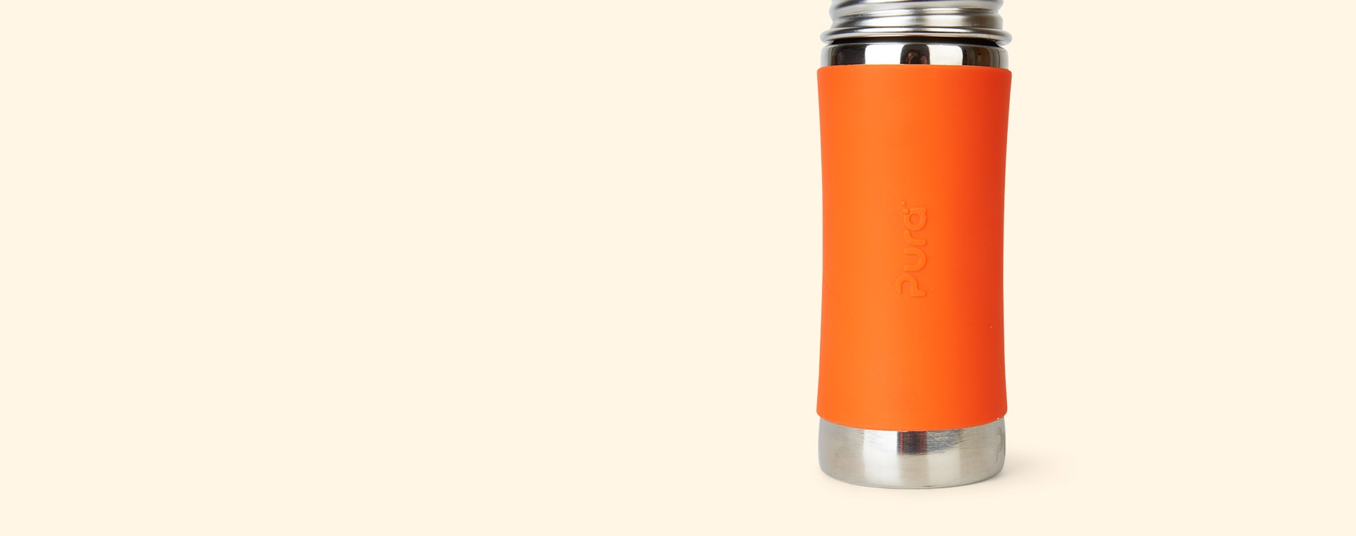 Orange Pura 11oz Straw Bottle