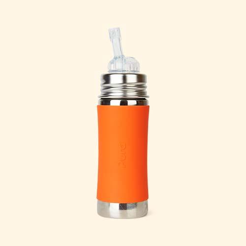 Orange Pura 11oz Straw Bottle
