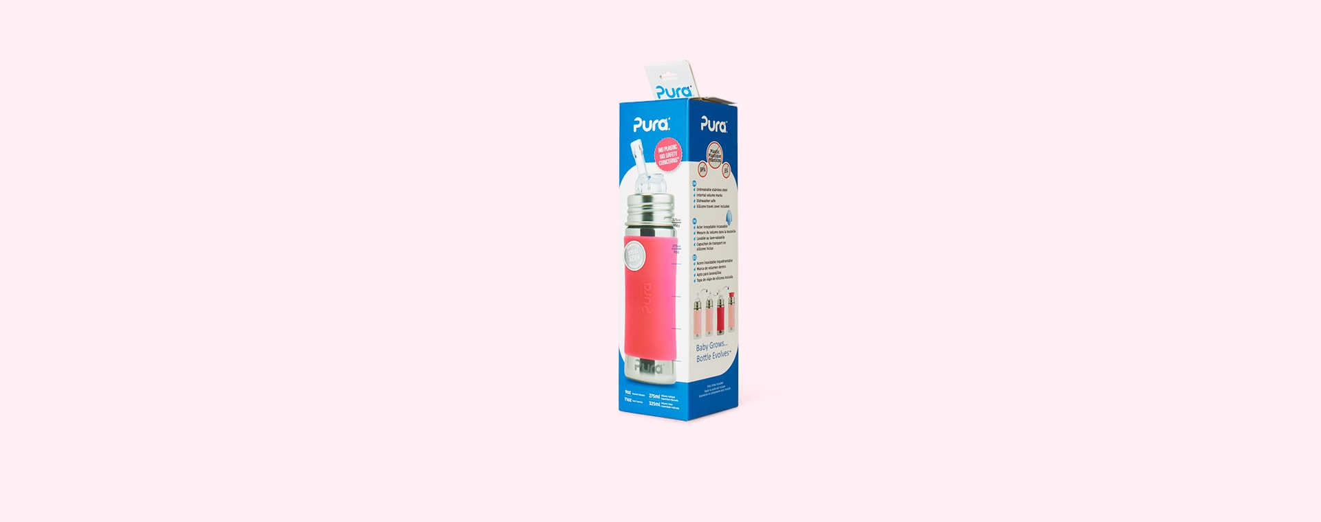 Pink Pura 11oz Straw Bottle