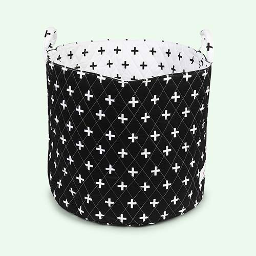 Black Cross Print Minene Large Storage Basket