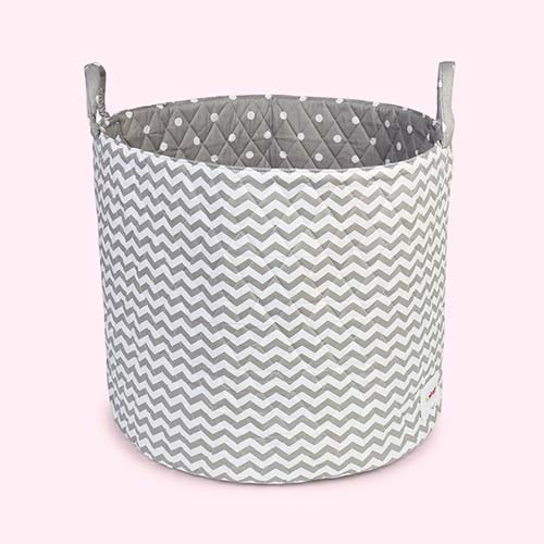 Grey & White Waves Minene Large Storage Basket