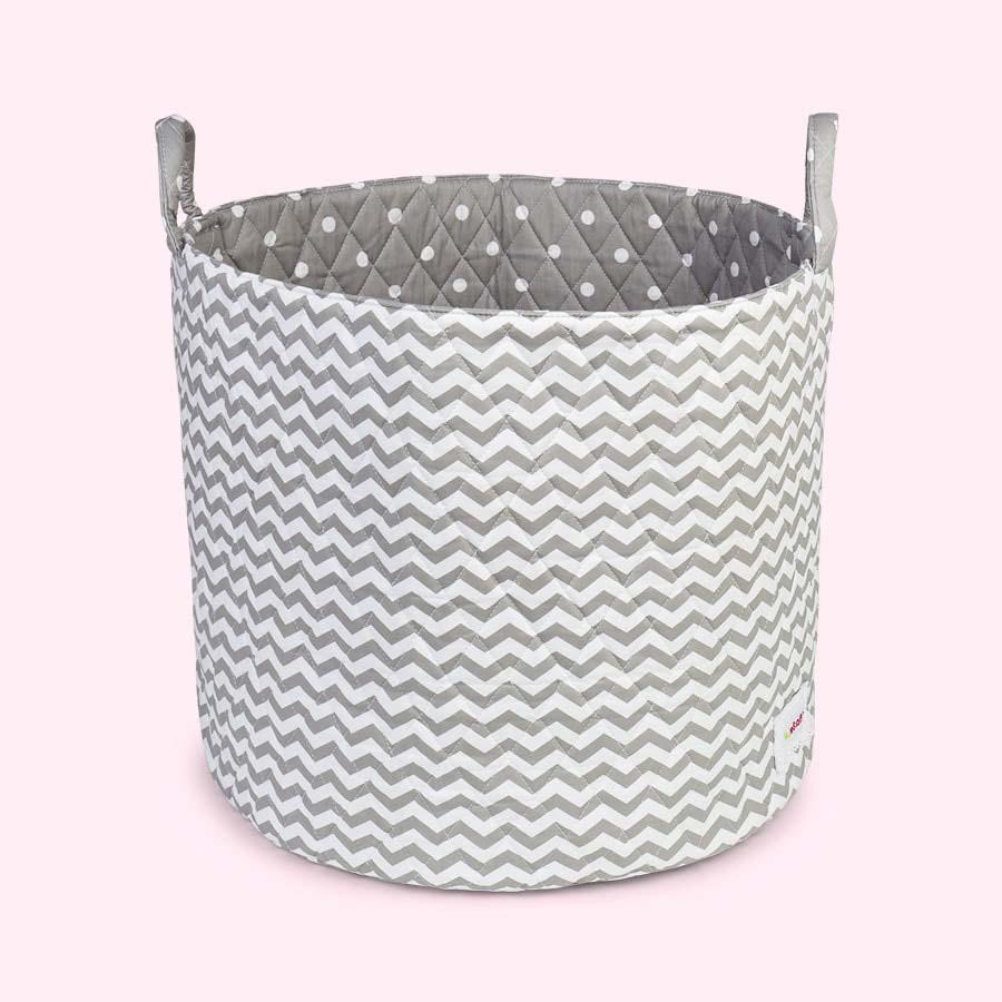 Grey & White Waves Minene Large Storage Basket