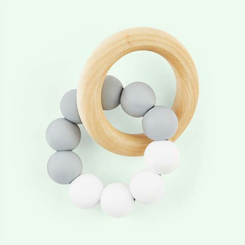 Grey White Blossom & Bear Teething Ring