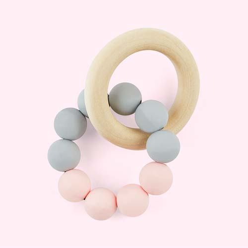 Grey Blush Blossom & Bear Teething Ring
