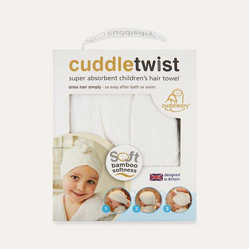 White Cuddledry CuddleTwist Bamboo Hair Towel