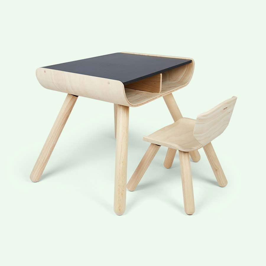Black Plan Toys Table & Chair