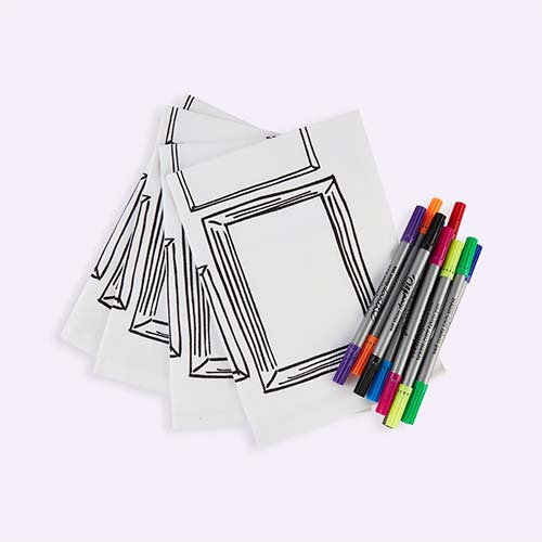 White Eat Sleep Doodle Doodle Frame Placemat - Set of 4