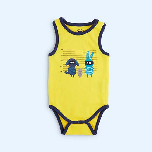 Yellow La Queue du chat Best Buddies Sleeveless Bodysuit