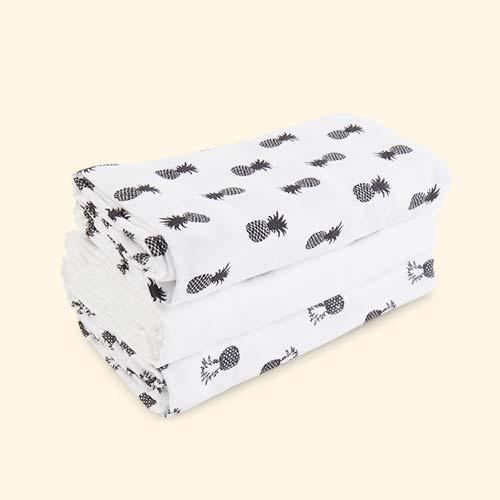 Monochrome Pineapple Mama Designs Muslin Squares - 3 Pack