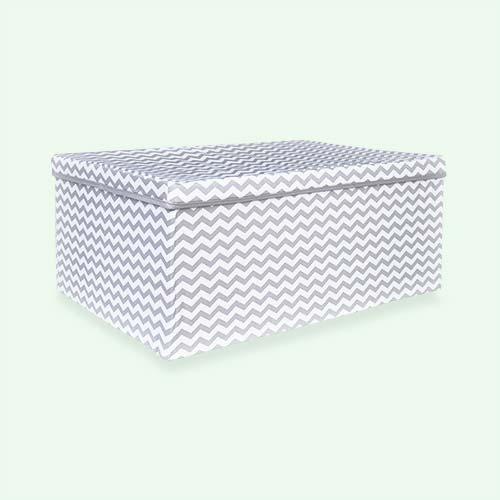 Grey Wave Minene Fabric Storage Box with Lid