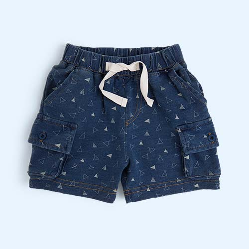 Denim Tee Pee Print The Bonnie Mob Fender Indigo Cargo Shorts