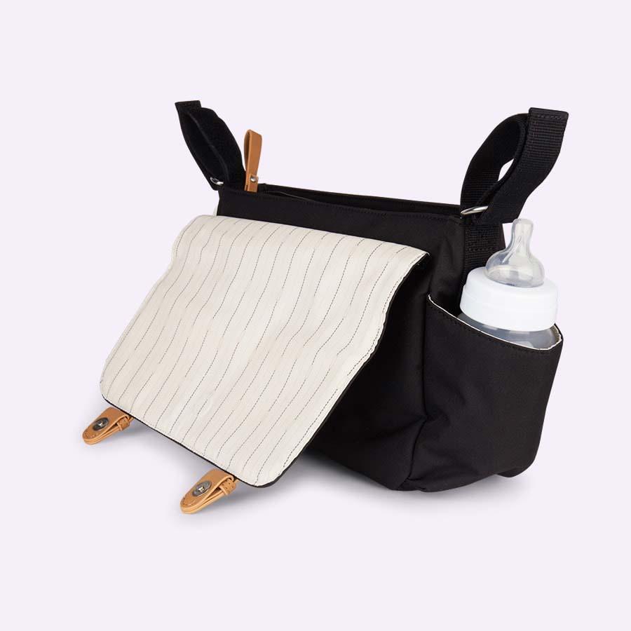 Black Storksak Travel Stroller Organiser