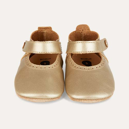 Gold Bobux Mary Jane Soft Sole Shoe