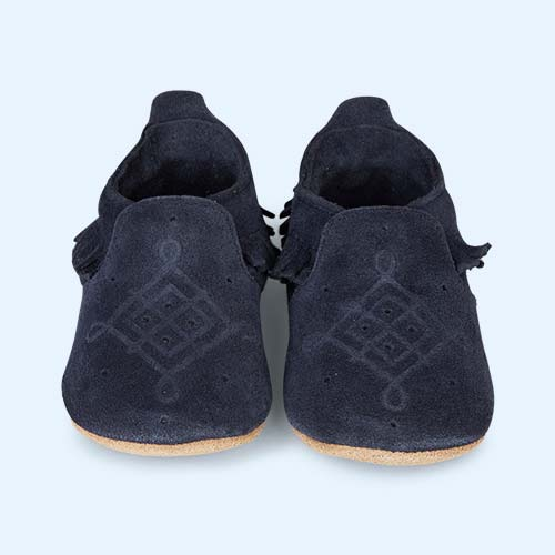 Navy Bobux Suede Mocassin Soft Sole