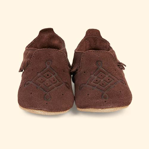 Chocolate Bobux Suede Mocassin Soft Sole