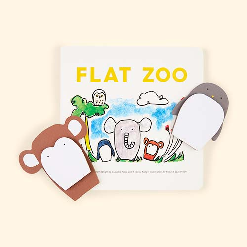 White Owl & Dog Playbooks Flat Zoo Board Book