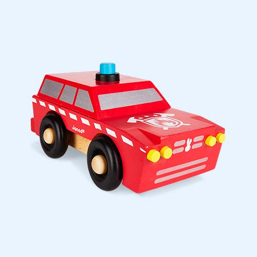 Red Janod Fireman SUV Magnetic Toy