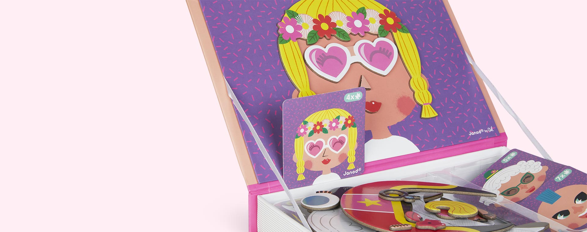 Girl's Crazy Faces Janod Magnetibook Educational Toy
