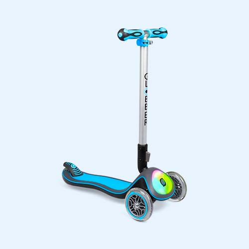 Sky Blue Globber Elite Lights Fold-Up Scooter