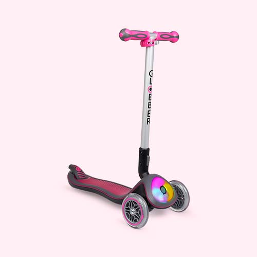 Deep Pink Globber Elite Lights Fold-Up Scooter